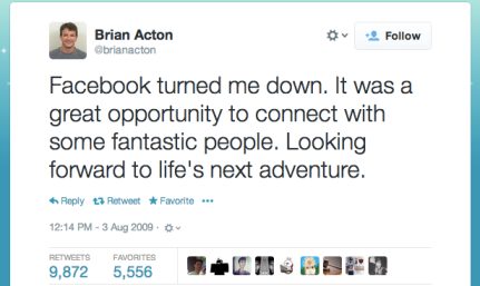 Co-Founder di WhatsApp, Brian Acton era stato scartato de Facebook